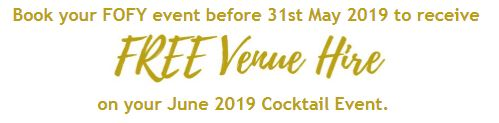FREE Venue Hire - June 2019 Cocktail Events